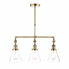 Laura Ashley Isaac 3 Light Bar Pendant Antique Brass