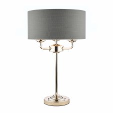 Laura Ashley Sorrento Table Lamp Polished Nickel with Charcoal Shade