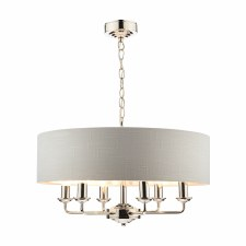 Laura Ashley Sorrento 6L Pendant Polished Nickel with Silver Shade