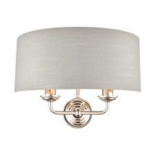 Laura Ashley Sorrento Double Wall Light Polished Nickel with Silver Shade