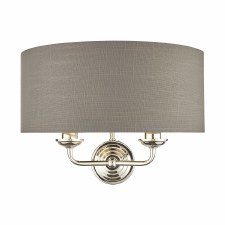 Laura Ashley Sorrento Double Wall Light Polished Nickel with Charcoal Shade