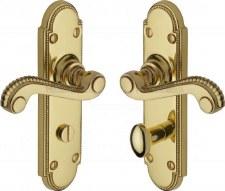 Heritage Adam Bathroom Door Handles R765 Polished Brass Lacquered