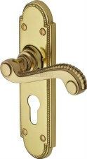 Heritage Adam Euro Lock Door Handles R768 Polished Brass Lacquered