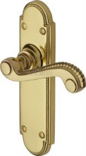 Heritage Adam Latch Door Handles R760 Polished Brass Lacquered