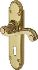Heritage Adam Door Lock Handles R750 Polished Brass Lacquered