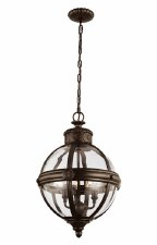 Feiss Adams 3 Light Pendant Chandelier British Bronze