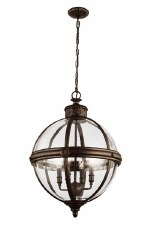 Feiss Adams 4 Light Pendant Chandelier British Bronze