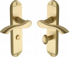 Heritage Algarve Bathroom Door Handles MM928 Satin Brass Lacquered