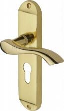 Heritage Algarve Euro Lock Door Handles MM925 Polished Brass Lacquered