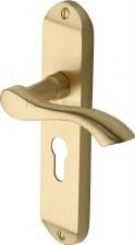 Heritage Algarve Euro Lock Door Handles MM925 Satin Brass Lacquered