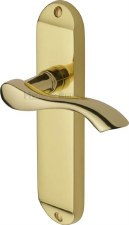 Heritage Algarve Latch Door Handles MM927 Polished Brass Lacquered