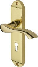 Heritage Algarve Door Lock Handles MM924 Polished Brass Lacquered
