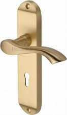 Heritage Algarve Door Lock Handles MM924 Satin Brass Lacquered