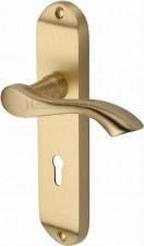 Heritage Algarve Door Lock Handles MM924 Satin Brass Lacquered