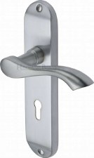 Heritage Algarve Door Lock Handles MM924 Satin Chrome