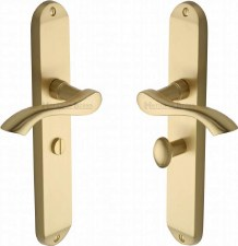 Heritage Algarve Long Bathroom Door Handles MM7230 Satin Brass Lacq