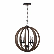 Feiss Allier 4 Light Pendant Weather Oak Wood and Antique Forged Iron
