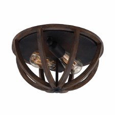 Feiss Allier Flush Light Weather Oak Wood and Antique Forged Iron
