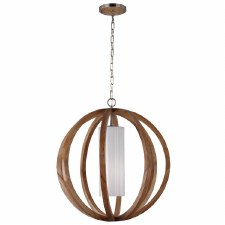Feiss Allier Large Pendant Light Wood and Brushed Steel