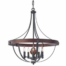 Feiss Alston 5 Light Iron Ceiling Pendant Black
