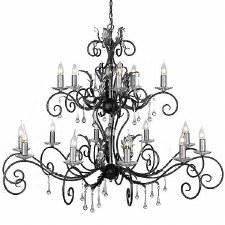 Elstead Amarilli 15 Light Multi Tier Chandelier Black Silver