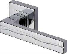 Heritage Amazon Square Rose Door Handles SQ5440 Polished Chrome