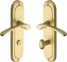 Heritage Ambassador Bathroom Door Handles AMB6230 Satin Brass Lacq