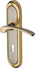 Heritage Ambassador Door Lock Handles AMB6200 Satin Nickel & Gold