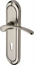 Heritage Ambassador Door Lock Handles AMB6200 Satin & Polished Nickel