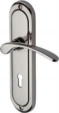 Heritage Ambassador Door Lock Handles AMB6200 Polished Nickel