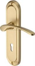 Heritage Ambassador Door Lock Handles AMB6200 Satin Brass Lacquered
