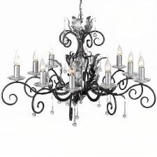 Elstead Amarilli 10 Light Chandelier Black Silver