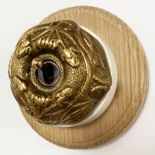 Art Nouveau Round Dolly Light Switch on Round Oak Base Antique Satin Brass