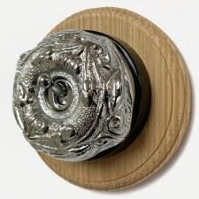 Art Nouveau Round Dolly Light Switch on Round Oak Base Polished Chrome