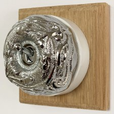 Art Nouveau Round Dolly Light Switch 1 Gang Polished Chrome