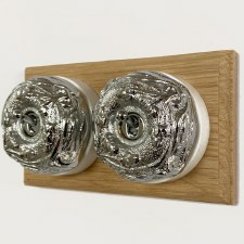 Art Nouveau Round Dolly Light Switch 2 Gang Polished Chrome