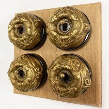 Art Nouveau Round Dolly Light Switch 4 Gang Antique Satin Brass