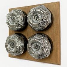 Art Nouveau Round Dolly Light Switch 4 Gang Polished Chrome