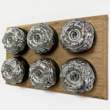 Art Nouveau Round Dolly Light Switch 6 Gang Polished Chrome