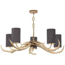 David Hunt ANT0599 Antler 5 Light Bleached Pendant with Shades