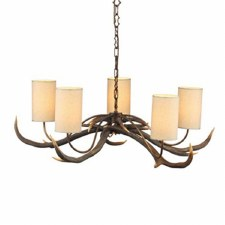David Hunt ANT0529S Antler 5 Arm Ceiling Pendant Light with Cream Shades