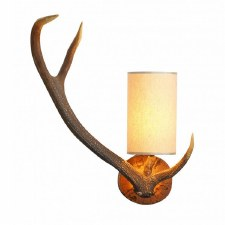 David Hunt ANT0729L Antler Wall Light Left Hand with Cream Shade