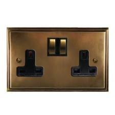 Edwardian Switched Socket 2 Gang Hand Aged Brass