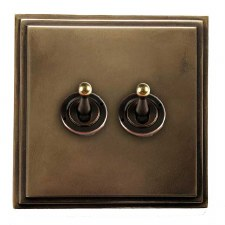 Edwardian Dolly Switch 2 Gang Hand Aged Brass