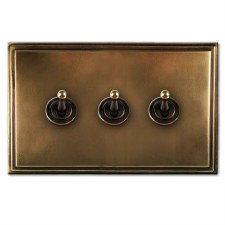 Edwardian Dolly Switch 3 Gang Hand Aged Brass