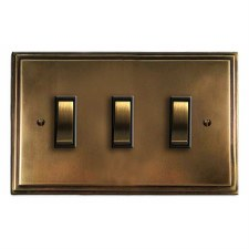 Edwardian Rocker Light Switch 3 Gang Hand Aged Brass