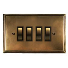 Edwardian Rocker Light Switch 4 Gang Hand Aged Brass