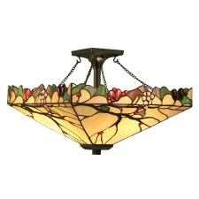Interiors 1900 Arbois Tiffany Semi Flush Ceiling Light