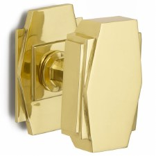 Croft Art Deco Centre Door Knob 7013 Polished Brass Unlacquered