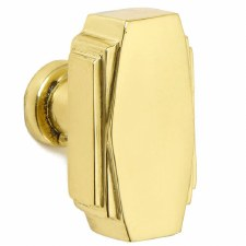 Croft 7006 32mm Art Deco Cupboard Door Knob Polished Brass Unlacquered